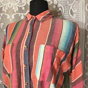 BDG Striped Long Sleeve Semi Sheer Button Down M